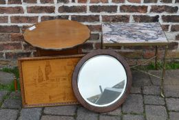 Brass & marble top table, sewing table, mirror & tray