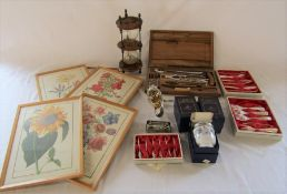 Various items inc Royal Worcester egg codlers, mother of pearl forks and skewers, ladle, prints,