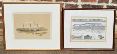 2 19th century prints 'The remains of the temple of Medamount' & 'Marine' larges 50cm by 58cm