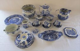 Various blue and white ceramics inc Spode Italian coffee set