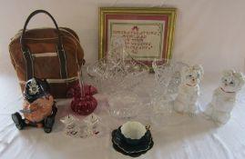 Assorted glassware inc cranberry glass, large basket, Swarovski candlestick, rose bowl etc,