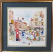 Colin Carr - framed watercolour of The Market Place, Louth 36 cm x 36 cm (size including frame)