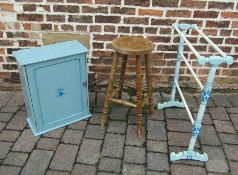 Painted pine cupboard, towel rail and stool