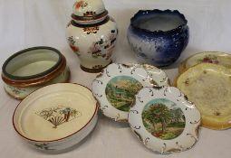 Set of 4 Currier & Ives decorative plates, jardiniere, bread plates etc.