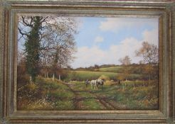 James Wright (b.1935) framed oil on canvas of a landscape with working horse, signed 92 cm x 67