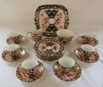 Royal Crown Derby imari pattern tea cups, saucers, plates, sugar bowl, jug and cake plate (all first