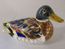 Royal Crown Derby paperweight - duck, gold stopper L 14 cm (no box)