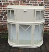Retro painted pine bow fronted display cupboard L 110 cm H 115 cm D 31 cm