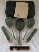 Art Deco silver and green guilloche 6 piece vanity set by Mappin & Webb London 1939 in leather