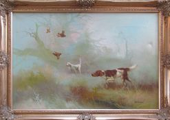 Large gilt framed oil on canvas painting of hunting dogs and pheasants by Eugine Kingman (1909-1975)