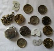 Selection of pocket watch parts inc silver case etc