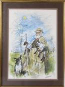 Colin Carr - framed watercolour 'A Lincolnshire Shepherd' signed and dated 1986 (with title and date