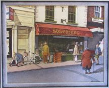 Framed oil on board 'Shopping in Eastgate' by Lincolnshire artist David Hammond 55.5 cm x 45.5 cm (