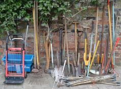 Large quantity of gardening tools, fertilizer spreader & a sack barrow