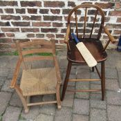 Child's high chair and rocking chair together with miniature cricket bat signed by Leicester