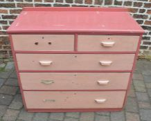 Old pine painted chest of drawers