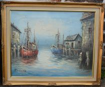 Oil on canvas of a harbour scene signed Florence. Frame size 61cm by 50cm