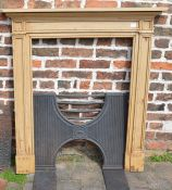 Georgian pine fire surround Ht 119 by 109cm with cast iron H grate