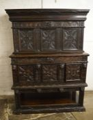 Late 19th/early 20th century heavily carved oak court cupboard H 173 cm L 128 cm D 58 cm