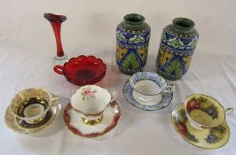 Various ceramics and glassware inc Paragon, Queens China and pair of Jas. Plant vases