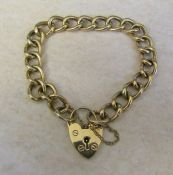 9ct gold bracelet with heart shaped padlock weight 11.1 g