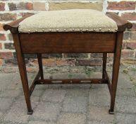Edwardian piano stool with storage, maker W & S Ltd