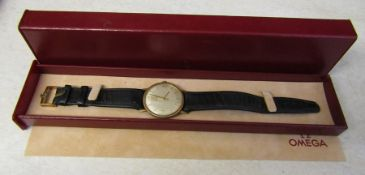 Gents Omega gold plated wrist watch with leather strap, complete with Omega box