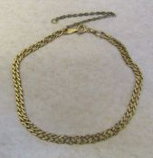 "9ct gold bracelet L 8"" weight 3.7 g (safety chain needs reattaching and is gold plated - weight"