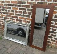Silver framed wall mirror L 89.5 cm and a wooden framed mirror