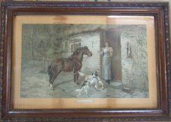 Framed Edwardian print 'The Gamekeepers daughter' 89 cm x 61 cm (size including frame)