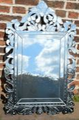Large ornate Venetian style wall mirror (some damage) 109cm by 66cm