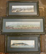 3 framed hand tinted photographs of Gibraltar naval base circa 1900, largest 55cm by 22cm