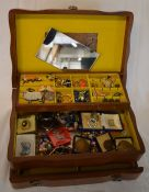 Jewellery box containing costume jewellery & sports medals
