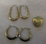 2 pairs of 9ct gold hoop earrings and a 9ct gold locket total weight 4.1 g