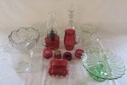 Assorted glassware inc cranberry glass