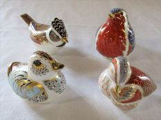 4 Royal Crown Derby paperweights - Crested tit Collectors Guild, Collectors Guild duckling, Teal