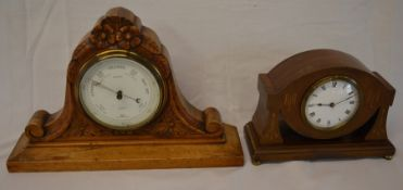 Musson of Louth mantel piece barometer & an Edwardian mantel clock