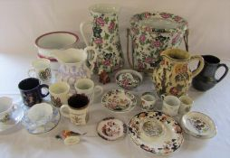 2 boxes of assorted ceramics inc part toilet set, Indian Tree and Crown Staffordshire