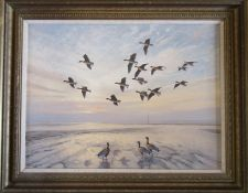 Large oil on canvas 'Geese in flight' by Julian Novorol (b.1949) signed and dated 1989 76 cm x 61 cm