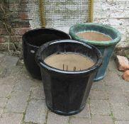 3 large garden planters H 45 cm & 38 cm