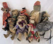 9 Daria Sikora OOAK handmade animals inc bird, monkey and pig (primitive dolls)