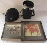 Charles Owen ultralite euro riding hat 2/57, travel flask set & 2 framed photographs of racing