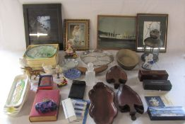 Various ceramics, glassware, prints, Dambusters pen set, dominoes etc
