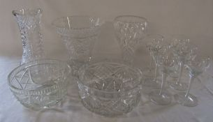 Selection of cut glass vases and bowls etc