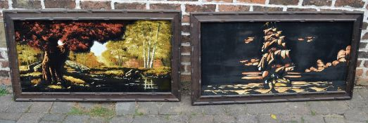 2 large framed paintings on velvet