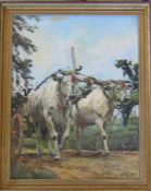 Framed oil on board of a farming scene by Windsor Morgan 1975 54 cm x 67 cm (size including frame)