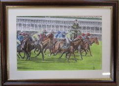 Framed pastel drawing of a horse racing scene, possibly The Grand National, signed/monogrammed K R