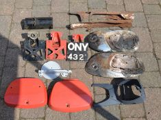 Classic Honda motorcycle frame parts for C100, C110, CB72 etc: headlamp shell, pair of side