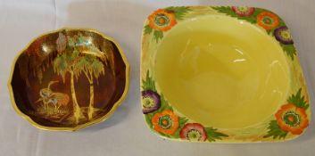 Carlton Ware bowl & a Carlton Ware Rouge Royale dish (chip to rim)