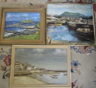 3 harbour / coastal paintings inc J Sealey oil on board 67.5 cm x 47 cm, and W Taylor 57 cm x 48